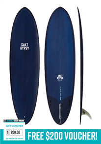 Salt Gypsy Surfboards & SUP Mid Tide Ocean Blue Tint Surfboard