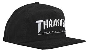 Thrasher Magazine Logo Corduroy Snapback, Black