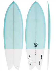 Modern Wild Child PU Fish Surfboard  Blue White