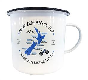 Moana Rd Mtn Biking Enamel Small Mug, White