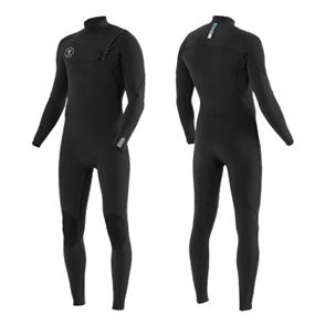 Vissla SEVEN SEAS 3/2mm FULL CHEST ZIP Long Sleeve Steamer, Black with Jade