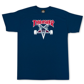 Thrasher Two Tone Skategoat Tee, Navy