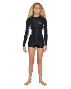 Oneill GIRLS BAHIA LS SPRING 2MM, Blk/ Daisy/ Blue