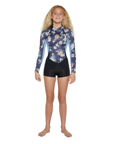 Oneill GIRLS BAHIA LS SPRING 2MM, Daisy/ Blue/ Black