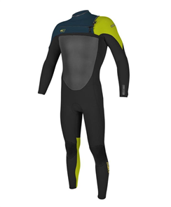 Oneill Youth Superfreak 4/3mm Steamer Chest Zip Wetsuit, Blk/Slate/Dayglow