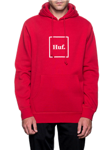 HUF Outline Box Logo Pullover Hoodie, Red