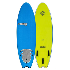 Platino HDPE Fish Soft Surfboard, DAZZLING BLUE/ELEC LEMON
