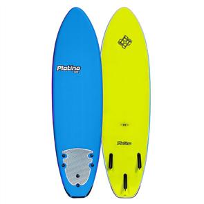 Platino Soft Surfboard, Dazzling Blue/Electric Lemon