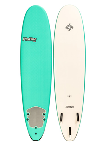 Platino HDPE Malibu Soft Surfboard, TURQUOISE/WHITE