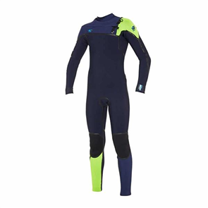 Oneill Psycho 1 4/3mm Boys Steamer Chest Zip Wetsuit, Abyss/ Navy/ Dayglow