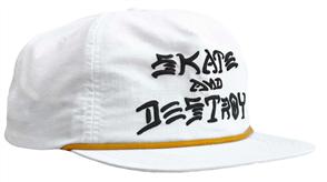 Thrasher Skate & Destroy Puff Ink Snapback, White