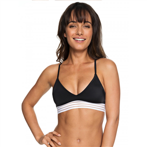 Roxy Womens Fitness Athletic Tri Separate Bikini Top, True Black