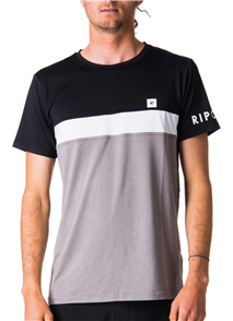 Rip Curl Underline Panel Short Sleeve Uv Tee, 0097 Black/Grey