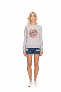 Santa Cruz Retro Dot Crew Sweat, Grey Heather