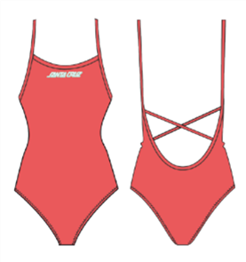 Santa Cruz Strip Cross-Back One Piece Swimsuit, Coral