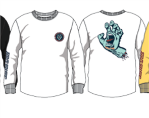 Santa Cruz Screaming Hand Long Sleeve Tee, White