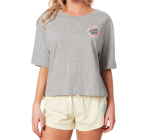 Santa Cruz Ringed Dot Bf Tee, Grey Heather