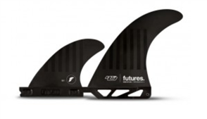 Futures Compound 6 Hs 2+1 Twin Fin Set Fins, Black Stripes