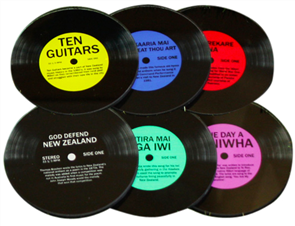Moana Rd Kiwi Record Coasters - Glass