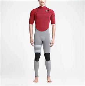 Hurley Mens Fusion 2/2mm Short Sleeve Full Suit 65N, University Red