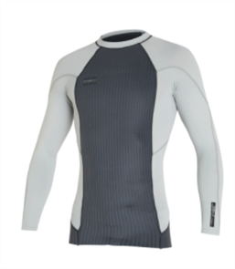 O'Neill HYPERFREAK TB3X NEO/LYCRA LS CREW WETSUIT TOP, GRAPH/COOLGRY