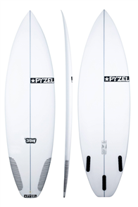 Pyzel Shadow Surfboard with 5 FCS Fins