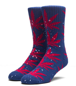 HUF Splatter Plantlife Socks, Navy