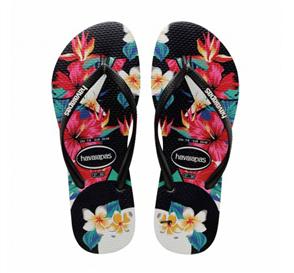 Havaianas Slim Tropical Floral Jandal, Black