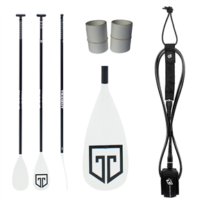 Trident T6 Fglass Combo, Paddle, 9ft Icon Leash, Rail Tape