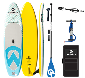 Agenda Tender iSUP 10'6 Combo with 3pc Carbon Black Blue Paddle and 9ft Leash