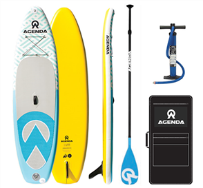 Agenda Tender iSUP 10'6 Combo with 3pc Carbon Black Blue Paddle and 10ft Leash