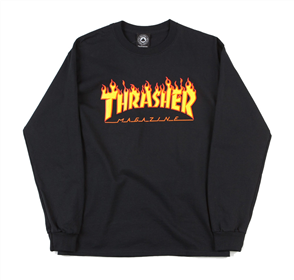 Thrasher Flame L/S Tee Black