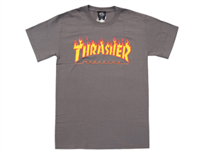 Thrasher Flame Tee Charcoal