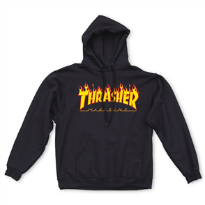Thrasher Flame Hood Hood, Black