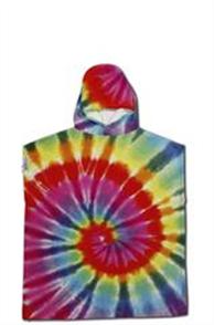 LEUS 100% Cotton Kids Surf Poncho, Tie Dye Multi