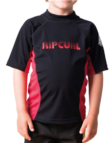 Rip Curl Grom Undertow Short Sleeve Uv Tee, 4019 Black/Red