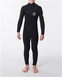 Rip Curl Junior Flash Bomb 4/3mm ZIP FREE STEAMER, Black