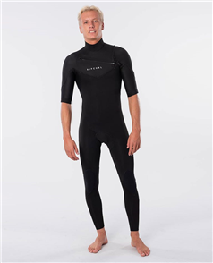 Rip Curl Dawn Patrol Chest Zip Short Sleeve 2mm Wetsuit Steamer, Black